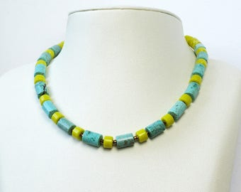 Jewelry necklace beads natural semi precious handmade hand CANCUN