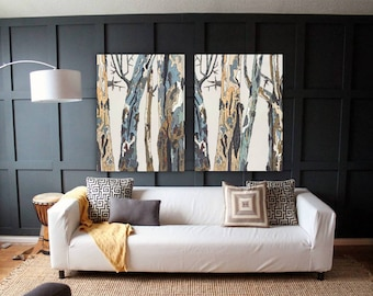 Extra Large Wall Art Diptych Set Canvas Oversized White Artwork Print Trees Bedroom Living Dining Room