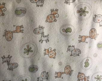 FLANNEL - Baby Safari Animals Fabric - Zebra Fabric - Rhinocerous Fabric - Tiger Fabric - Giraffe Fabric - Baby Zoo Fabric