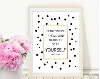 Beauty Begins, Chanel Quote, Printable Art,al Print Inspiration, Typography Quote, Home Decor, Motivational Poster, Wall Art