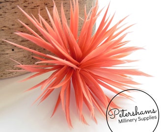 Goose Biot Feather Pom Hat Mount for Millinery, Fascinators & Hats - Coral