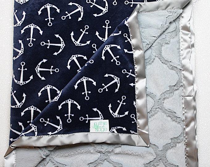 Minky blanket, anchor blanket, nautica blanket, baby gift,  Boy Minky, Baby boy blanket, modern blanket, navy blue lattice, navy and grey