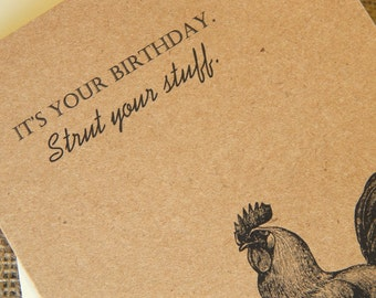 Rooster Birthday Card     Vintage Rooster Birthday Card