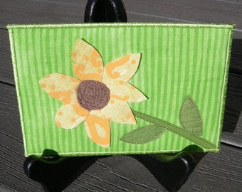 Birthday Card - Housewarming Gift - Yellow Sunflower - Fabric Postcard - Quilted Postcard - Greeting Card - Postcard Art - Flower Lover