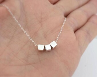sterling silver triple cube necklace