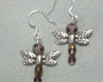 Handmade Crystal dragonfly Earrings. Always FREE shipping