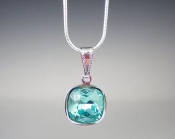 Light Turquoise Rhinestone Necklace Wedding Jewelry Bridesmaid Necklace  Aqua Teal