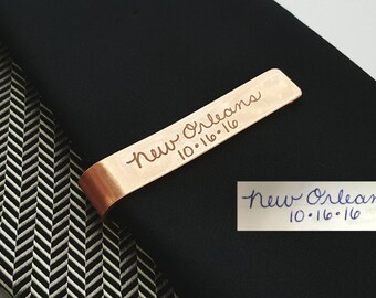 "Tie Bar, Handwriting Tie Clip, Signature Tie Clip, Handwriting Tie Bar, Silver, Gold Filled, Copper Tie Bar, Engraved, ""add a FINGERPRINT"""