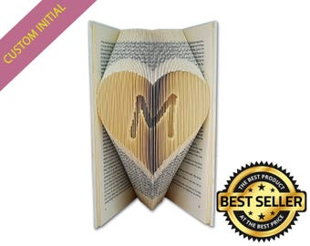 Custom Initials, Gifts for men, Gifts for her, Gifts for boyfriend, Gifts for dad, Gifts for him, Gift for husband, Folded Book Art