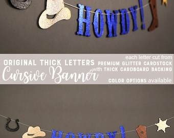 HOWDY banner, rodeo birthday banner, western theme party, nash bash party, cowgirl, cowboy, glitter banners
