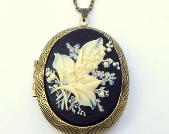 Large, Cameo Locket Necklace, Lilies of the Valley, Ivory on Onyx Black Background
