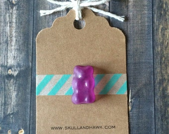 Purple Gummy Bear Lapel Pin - Realistic Resin Faux Candy - Tack Backing with Clutch Clasp - Candy Lover Gift