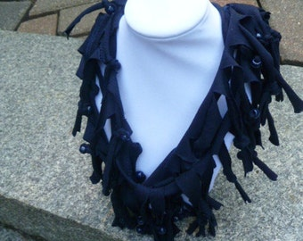 Shabby Chic Sliced Knotted and Beaded Cowl T Shirt Scarf Many Colors Available Shown Here in Navy with Navy Beads