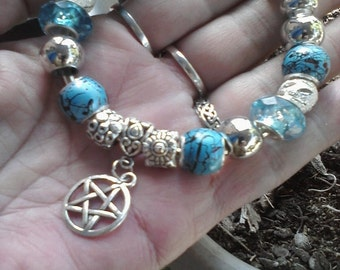 Pagan Wiccan Summer skys, Euro style bracelet