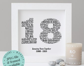 Personalised 18th ANNIVERSARY GIFT - Word Art - Printable Gift - Framed Print - 18 Year Anniversary - 18 Years - Gift for Men - For Husband