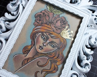 Aurora Original Drawing Illustration Mixed Media in Painted Ornate Frame Queen Princess Pretty Female Fairy Tale Art