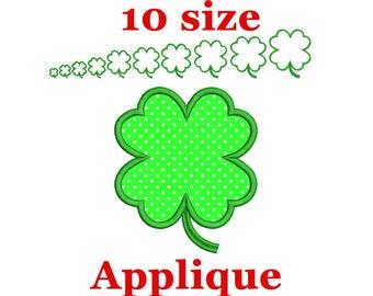Clover 4 Leaf Applique Machine Embroidery Design. St.Patrick's Clover Applique Machine Embroidery Design. Shamrock applique design. Monogram