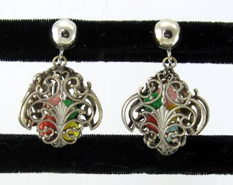 Ornate Lacey Caged Bead Dangle Earrings; Vintage Drop Filigree Rococo Baroque Renaissance Revival