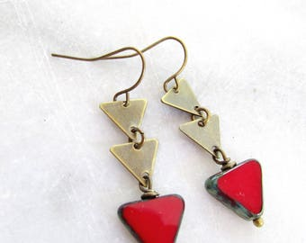 Brass Triangle Earrings, Modern, Red Triangle, Geometric Earrings, Minamalist, Everyday earrings, Geometric, Redpeonycreations