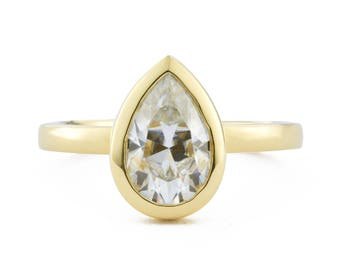 Pear Shaped Engagement Ring, 1.5 ct Moissanite Bezel Engagement Ring, Bezel with Open Sides, Also available in 14K white and 14K rose gold