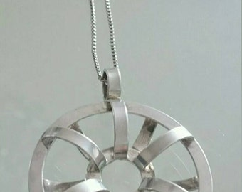 Rare Ola Dahlsveen Vintage Norwegian Sterling Silver Modernist Pendant and Necklace