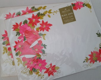 Vintage 1970s Christmas NOS Heavy Paper Placemats - 16 Mats (Two Sets of 8)