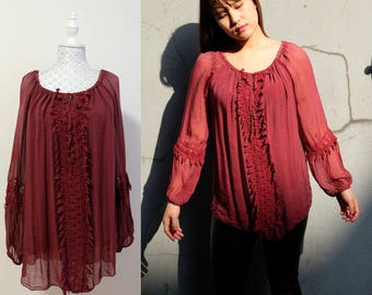 Silk Lace Sheer Blouse Tunic/ Wine Burgundy Red