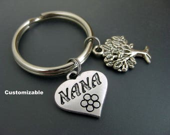Nana Keychain / Nana Key Ring / Tree of Life Keychain / Gift For Nana / Grandmother Keychain / Customizable Keychain / Personalized Keychain