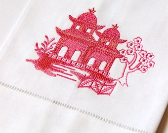 Embroidered Pagoda Linen Tea Towel