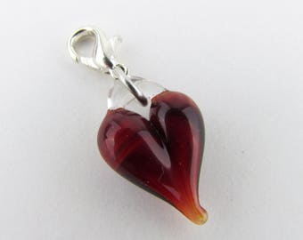 Ruby Glass Love Charm Clip, Hand Blown Glass, Glass Heart Pendant, Valentine's Gift for Wife, dangle, Boro Lampwork jewelry, Heart Clasp