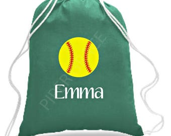 Softball Drawstring Bag, Softball Gifts, Softball Gift Ideas, Gifts for Softball Players, Personalized Softball Gift, Softball Team Gifts