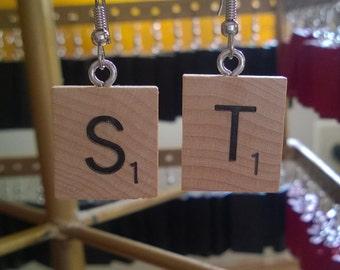 Scrabble letter earrings.