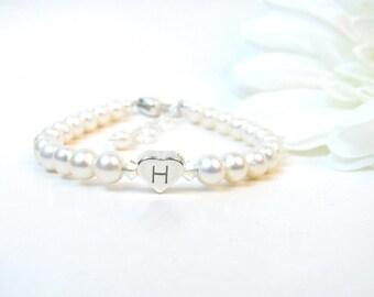 Baby Girl Bracelet - Baby Bracelet - Personalized Newborn Bracelet - Pearl Baby Bracelet - Little Girl Jewelry - Child Initial Bracelet