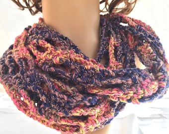Infinity scarf in blues and pink shades