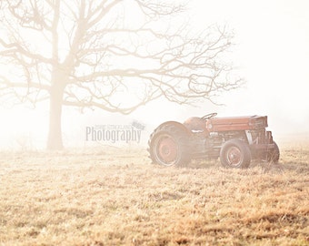 Tractor with Fog Wooden Print Wrap