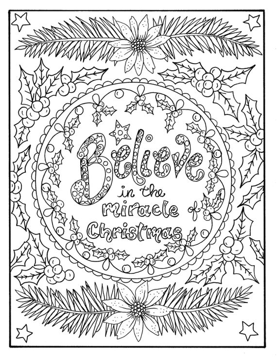 Christmas Coloring page Believe in the Miracle Adult Christian