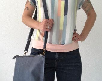 Blue leather crossbody bag, shoulder bag