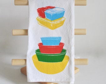 Tea Towel: Vintage Pyrex Primary Bowls Primary Fridgies Tea Towel, Thick Flour Sack Cotton Towel, Dish Cloth, Hand Screen Printed