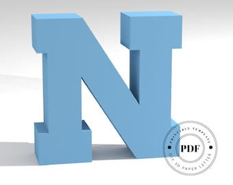 Printable DIY template (PDF).  Letter N low poly paper model template. 3D paper lettering. Origami. Papercraft. Cardboard alphabet.