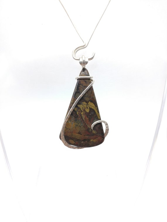 Rustic Jasper Pendant Necklace | Sterling Silver Pendant Necklace | Multicolored Jasper Pendant | Post-Apocalyptic Cosplay