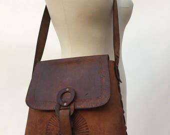 1970s handmade tooled braided SATCHEL natural tan leather // 1970s handbag //crossbody