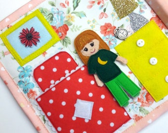 Doll Baby house. Quiet book, felt book, dollhouse busy book, book for girl (8 pages, coming with a bag)-free shipping.