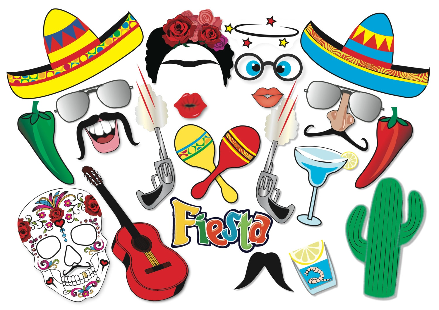 Cinco de Mayo Mexican Fiesta Party Photo booth Props Set 22