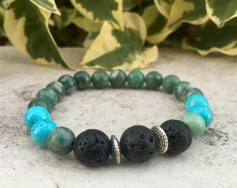 Jade, Howlite Gemstone And Lava Diffuser Bracelet, Aromatherapy Jewelry, Chakra jewelry, Healing Properties, Natural Remedy