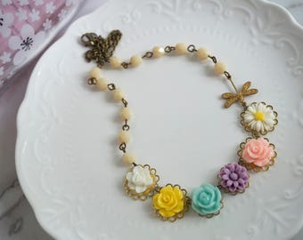 Colourful Spring Floral Statement Nature Garden Inspired Flowers and Dragonfly Necklace. White Yellow Blue Pink Purple