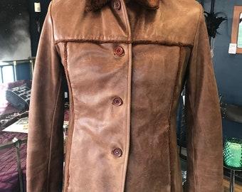 Vtg jkt leather woman's - branded aviatrix
