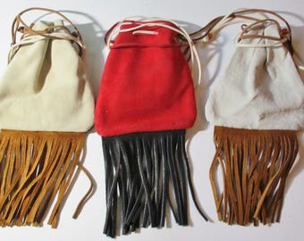 Custom Made! Two Toned Medicine Bags Leather Baby Soft, Hand Crafted Crow Beads Hand-cut and Sewn with Waxed Sinew Fringed