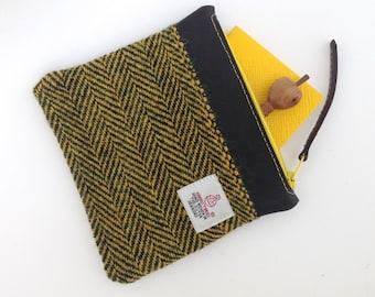 Harris Tweed Yellow Black Zip Bag