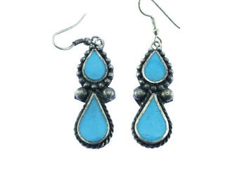 Vintage Blue and Silver Earrings, Blue and Silver Dangle Earrings, Silver and Blue Earrings, Silver and Blue Dangle Earings