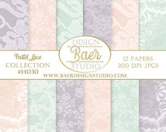 LACE DIGITAL PAPER:Pastel Lace Digital Paper, Wedding Digital Paper, Purple Lace Digital Paper, Easter Digital Paper, Mint Digital Paper